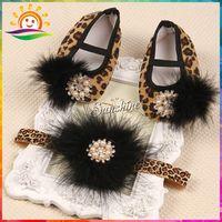 baby cheetah shoes - Cheetah print shoes baby ballerina girl sapatinhos de bebe menina leopard booties feathers headband set Free B1916 set