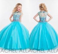 Princesa 2016 Pequeñas flores niña vestidos de novia con Sheer Jewel Neck Navidad desfile vestidos de azul Pageant For Girls