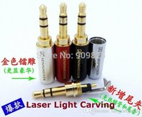 gfci - 50PCS New mm Audio jack connector Adapter gold plated headphone plug Laser light carving Stereo headset rca dual A5