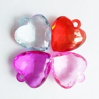 acrylic faceted - 29x32mm Faceted HEART Shape Acrylic Pendant Beads Clear Chunky Beads Transparent Acrylic Plastic Heart Pendants Charms