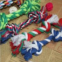 оптовых собачьей кости-Fun Pet Chew Узел Игрушка Хлопок Плетеный Кость Rope Цвет щенячий