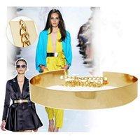 chain metal dress - Women Gold Full Thin Wide Bling Mirror Plate Waist Metal Chain Belt Prom Dress