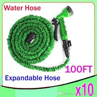 Valves & Connectors Rubber  100FT Expandable Flexible WATER GARDEN hose flexible water HOSE with valve and Spray Nozzle 10pcs ZY-SG-01