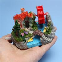 aquarium wheels - Fish Tank Fish Bowl Rockery Wind Wheel for Turbine Brick Building Aquarium Decor order lt no track