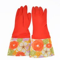 Wholesale Thick laundry gloves Rubber Latex Liquid Flower Lin housework gloves clean warm dishwashing gloves home supplies XJJ0083