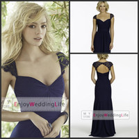 Reference Images navy blue bridesmaid dresses - 2015 Navy Blue Chiffon Long Bridesmaid Dresses Lace Cap Sleeves Ruffles Keyhole Back Formal Evening Party Gowns