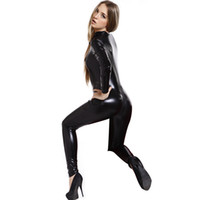 adult rompers - Adult Sexy Wetlook Catwoman Jumpsuit And Rompers Spandex Catsuit Bodysuit Fancy Dress Hen Party Halloween Costumes For Women