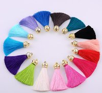Wholesale 15 colors Tassels Charms Imitated Meryl Tassel Pendant Gold Cap Stopper DIY Earings Necklace Jewelry Keychain Bags Handcraft Accessories