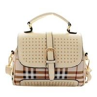 cheap branded bags - Cheap Products new rivet package stitching Plaid bag shoulder bag brand patchwork Studded Messenger Bag Z5