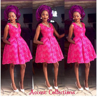 bella ball gown - Nigerian Aso Ebi Style Arabic Ball Gown Evening Dresses Appliqued Scoop Bella Naija Evening Party Dresses Pink Bridesmaid Dresses Pocket