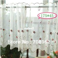 kitchen curtains - 175 Terylene yarn small roses embroidered curtain Idyllic small kitchen curtain curtains