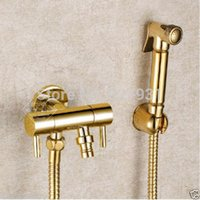 Wholesale Solid Brass Bidet Sprayer Toilet Flusher Faucet Gold plate Shower head quot Hose Shattaf Bidet Sets
