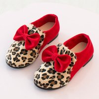 air bow - Children Girls Casual Shoes Leopard Sneakers Shoes Spring Autumn Bow Flats Shoes Kids Boutique Princess Party Shoes Anti slip Shoes ZJ S07