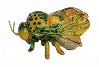 bee jewelry box - Green bee jeweled pill box decorative box trinket box pewter ornament birthday Valentines Mother s day gifts