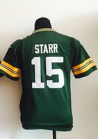 bart logo - Factory Outlet Boys New Youth Bart Starr Jersey Green Kids Football Jerseys Best Quality Authentic Boy Embroidery Logo