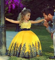 Wholesale 2015 Pretty Little Girls CUPCAKE Dresses Yellow Applique Sash Ball Gowns Kids Baby Infant Toddler Birthday Dancing Party Children Dresses