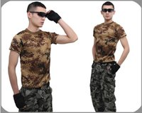 camouflage wholesale - 2015 Summer Outdoors Hunting Camouflage T shirt Men Breathable Army Tactical Combat T Shirt Military Dry Sport Camo Outdoor Camp Tees