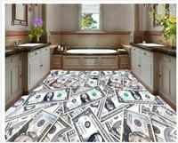 Wholesale Custom photo floor wallpaper D stereoscopic Dollar D floor d mural PVC wallpaper self adhesion floor wallpaer
