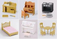 Wholesale 5pcs Play House Toys Sylvanian Families Desk Bed Piano Sink WJ179