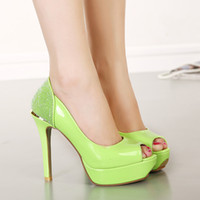 apple green heels - glitter sequins white wedding pumps bridesmaid peep toe apple green shoes Party Evening Shoes size to WX