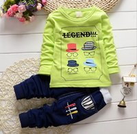 Cheap 2015 Autumn New Babies Clothes Boy Sets Hats Glasses Cartoon Long Sleeve Leisure Baby Sets 1-4Y 1206