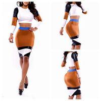 Wholesale Women Patchwork Club Bandage Bodycon Cocktail Dress Clothing Slim Clubwear