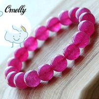 beaded rubies bracelet - Ruby Stone Natural Sharpening Stone Bracelet Jewelry Semi Precious Rubine Gemstone Beads Strands for Women Wedding Jewelry Discount