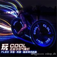 Wholesale 9 patterns leds Bike Bicycle car Motorcycle tire Spoke Wheel Valve LED Flash alarm Light Neon