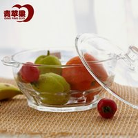 Wholesale Microwave oven with tempered glass green apple salad bowl bowl of soup pot heat L dual lid