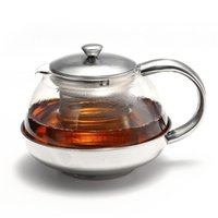 Wholesale High quality ml Stainless Steel Faced Modern Infuser Teapot Herbal With Filter Heat Resistant Glass