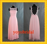 Wholesale 2016 Real Photo Pink High Neck Lace Bridesmaid Dresses Chiffon Sheath Backless Evening Brides maid Party Dress Gown