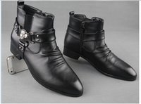 work boots for men - Hot Selling Fashion Men s Artificial Leather Boots Black Pointed Toe Motorcycle Boots Increased Work Boots For Men