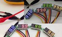 Wholesale Mini Wires DC V LED Panel Digital Display Voltage Meter Voltmeter Yellow Green Red Blue Light Voltimetro