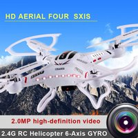 Wholesale 2015 Newest Drone Awesome DFD F183 JJRC H8C G RC Helicopter Axis GYRO Quadcopter Drone With Camera LED Remote control Toys