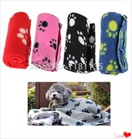 Wholesale 60 cm Hot Cute Colorful Soft Cozy Warm Paw Prints Pet Dog For Cat Fleece Blanket Mat Bed Car Seat Cover