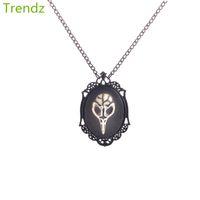 best skull pendant - Min Vintage Steampunk Skull Cameo Locket Pendant Hand Painted Black Chain Necklaces Best Halloween Gift STPK15063