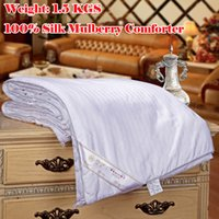 Wholesale 1 KGS Mulberry Silk Filling Blanket Handmade White Air Conditioner Quilt King Silk Bedding Textile Factory