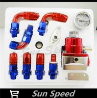 Wholesale Aluminum Fuel Pressure Regulator Kit AN AN Fitting Gauge Braided Line Red Blue