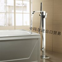 Wholesale Modern Floor Stand Bathtubs Faucets Square Spray Water Mixers Bath Crock Tap Sauna Room Sets Spa Tub Furniture Bathroom Shower Sets