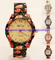 floral print dress - 100pcs new Geneva metal alloy watch unisex women men ladies quartz flower Floral printing dress watches gift party watches