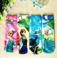 cartoon children socks - Baby booties frozen socks princess Elsa Anna printed cartoon girls children socks long legging knee high kids socks cotton soft sock