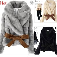 rabbits for sale - Hot Sale Korean Jacket Fashion Faux Fur Coats Rabbit Hair Lady Warm Overcoat Jacket Fluffy Short Outwear Belted For Winter Black Gray