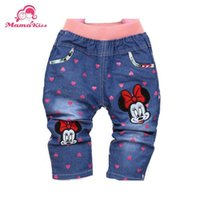 Wholesale New Spring Character Heart Printing Fashion Baby Girls Pants Trousers For Years Old Baby Jeans B093