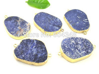 agate dark crystal - crystal luxury Crystal Shiny Druzy Slab Agate Connector Beads in Dark Blue color Gold Plated Gem Stone Connector Beads Druzy Drusy Co