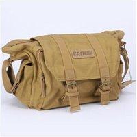 Wholesale Caden F1 Khaki Vintage Canvas DSLR Camera Bag Case Shoulder Messenger bag for Nikon for Sony Canon Pentax Panasonic waterproof