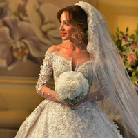 long train wedding dress - 2015 Fashion Wedding dress Long Train Off The shoulder Bridal Gown Long Sleeve Wedding Bridal Dresses Flowers Appliques vestido de novia