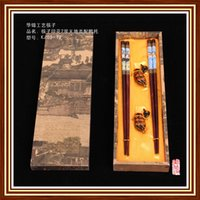 beijing pattern - Pairs Chinese Handmade wooden Dark Brown Beijing Opera Figures Pattern Chopsticks amp Duck Shape Support With Gift Box