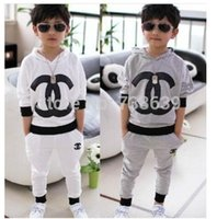 Wholesale HOT spring boys and girls brand clothing set baby brand suit hoodie pant best NEW years present for children