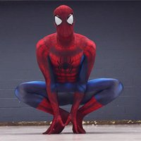 Wholesale Halloween adult marvel lycra Ultimate The Amazing Spiderman Costume Cosplay mask lens D Printing