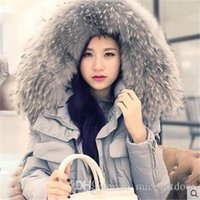 Cheap Womens Down Coat 100% Real Big Raccoon Fur Printed Outerwear 2016 New Winter Warm With Belt Butoon Cardiagn Clothing Down Parkas CC-534